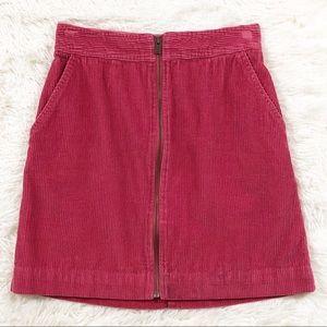 Gap pink corduroy zip mini skirt size 00